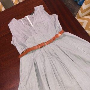 Ann Taylor midi 100% cotton dress w/ free belt